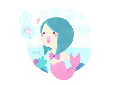 Sea world - Mermaid mythology funny kawaii children textures fantasy character girl illustration mythology mermaid sea