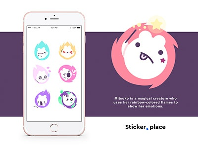 Mitsuko stickers for Sticker.Place imessage emoji emotions flames magical creature character pack stickers mitsuko
