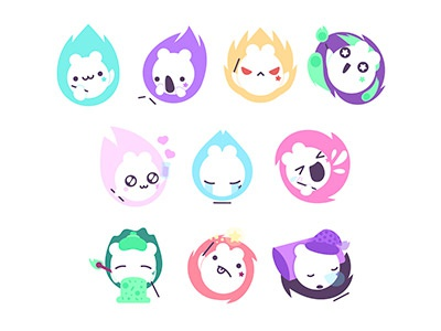 Mitsuko stickers for Sticker.Place stickers pack mitsuko magical imessage flames emotions emoji creature character chat