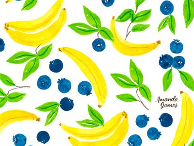 Blueberry Banana Watercolor Pattern