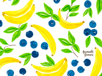 Blueberry Banana Watercolor Pattern