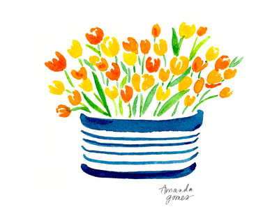 Tulips in a striped bowl
