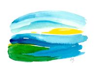 Watercolor Landscape in Blue