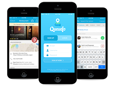Queuefo App login restaurant search queue queufo