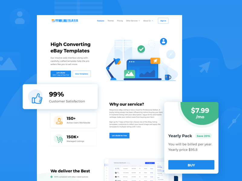 eBay Template builder - Landing Page