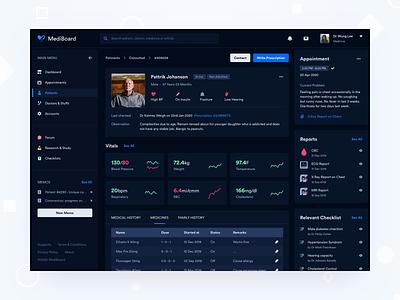 MediBoard - Patient Info information data web app patient doctor saas product design uiux uxdesign uidesign dark ui dashboard medical