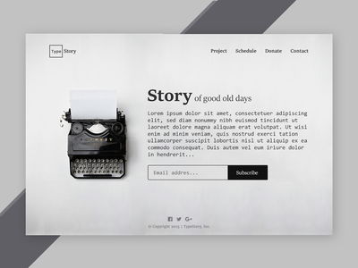 Landing Page (above the fold) typewritter website landing page blackwhite story type challenge user interface ui dailyui daily ui