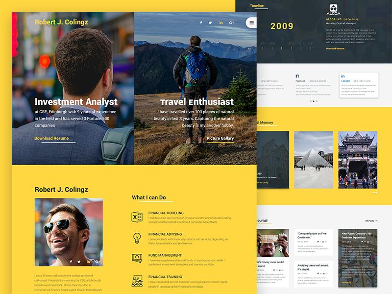 Colingz - Personal Website Template [Freebie] template freebie free gallery blog interface ui design ux ui landing page webpage web