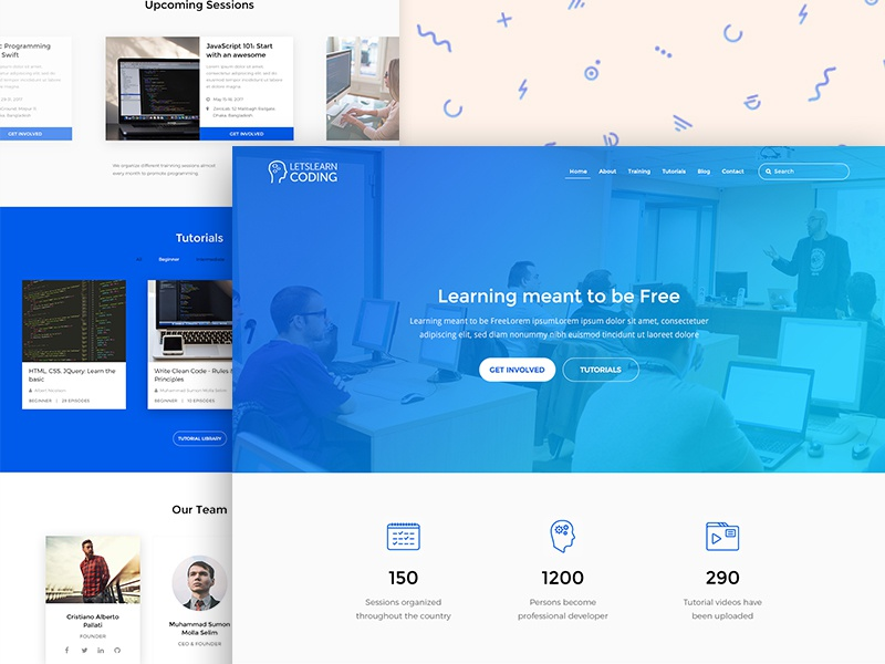 Lets Learn Coding - Landing Page education gradient code learn interface website landing page webpage ux ui