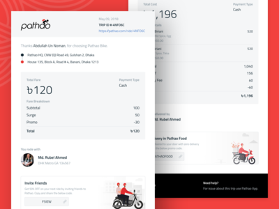 Email Receipt - Pathao ride share email receipt food ride ui pathao receipt email