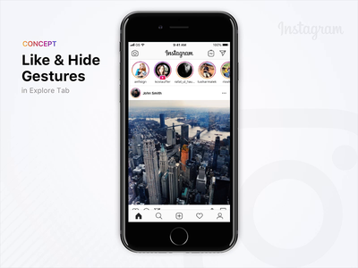 Like & Hide Gestures | Instagram Concept interaction design ux ui interface interaction design animation app concept concept instagram principleapp uxdesign product design motion card swipe