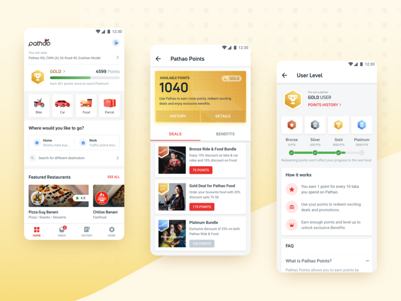 Pathao Points - Pathao's Loyalty Program platform badge card level progress deals points reward loyalty ui