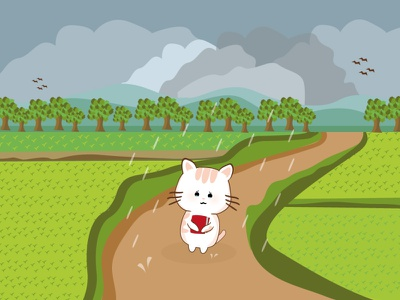 A little Cat on the Rain vector illustration icon graphic design design branding