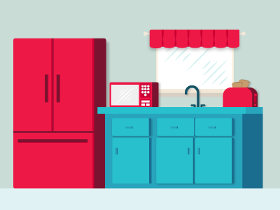 Kitchenette microwave toaster sink fridge illustrator kitchen