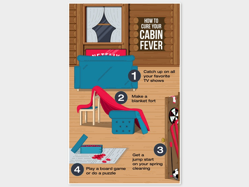 How To Cure Cabin Fever winter netflix illustrator fun infographic