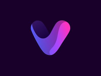 Victory identity purple graphic logo gradient digital branding icon ui concept vector design sketch