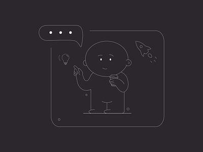Black & White Line illustration branding vector concept 2d character line illustration blackandwhite webdesign drawing character flat design illustration ui sketch