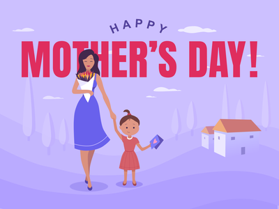 Happy Mother s Day vector warmup concept flat design character illustration drawing ui design sketch