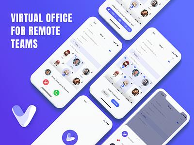 Virtual Office Mobile App Design screen presentation mockup typography web flat minimal app logo ux ui design concept vector sketch