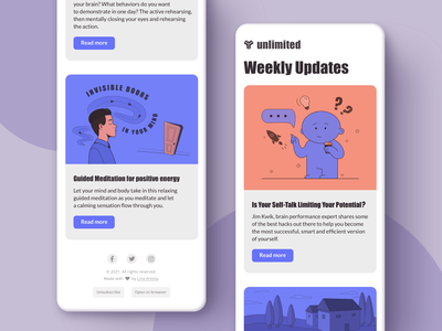 Weekly Updates Newsletter and Email Template email template design typography newsletter email marketing flat digital character branding illustration drawing ui design concept vector sketch