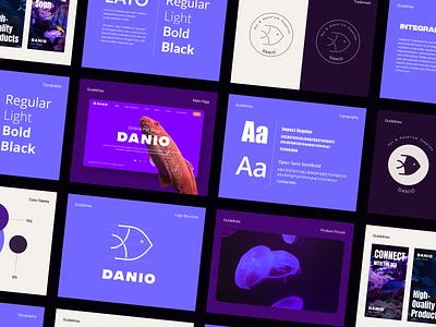 Branding - Danio logo structure scheme brand book banner prototype website web design color palette typography graphic design branding ux logo ui design concept vector sketch