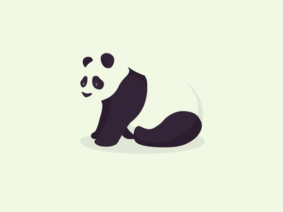 Panda panda bear character flat design concept minimal black and white illustration drawing sketch