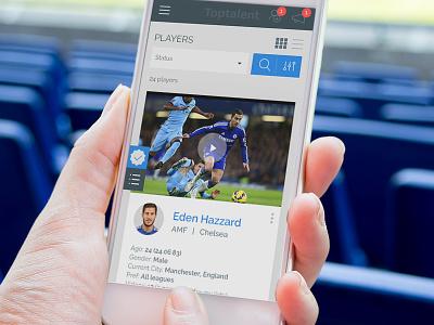 Top Talent app design web app ux football