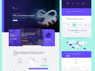 Homepage design for consulting company   ARC Consulting design webpage web business company homepage home modern smart innovative green violet arc consulting website