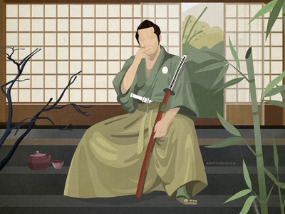 Samurai at his Dojo vector procreate bamboo katana sword martial arts martial japanese japan ronin samurai menon drawing flat illustration character art aswin