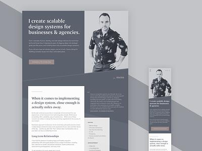 Upcoming — Personal site redesign freelance landing hero homepage typography website