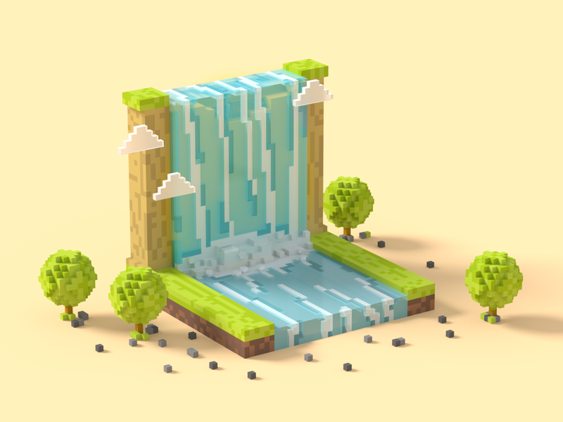 Waterfall vote waterfall nature 3d magicavoxel voxel vector design creative illustration