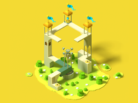 Monument valley Voxel artwork voxel voxelart design architechture 3d artist 3d 3d art vector creative illustration @design moumentvalley