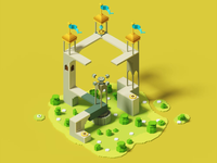 Monument valley voxel-turntable motion graphics animation monumentvalley 3d animation voxelart voxel architechture 3dart 3d gif vector creative illustration