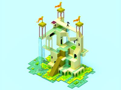 Monument valley 2 magicavoxel design illustration voxelart scene 3dart architechture monumentvalley voxel3d voxel