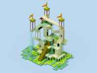 Monument valley scene 2 architecture magicavoxel motion voxelart voxel 3dart 3d monumentvalley design adobe illustration