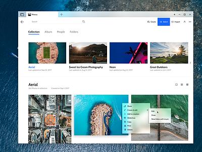 Microsoft photos - Fluent UI acrylic adobexd gallery photos windows10 ui fluent microsoft