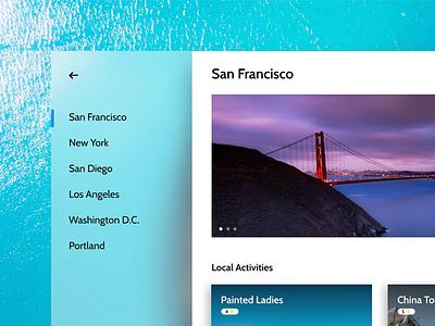 City Guide native windows app with Fluent UI acrylic adobexd gallery photos windows10 ui fluent microsoft