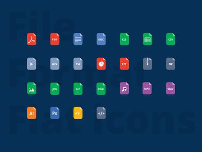 FREEBIE: File format Flat icons free format file brand flat illustration icons