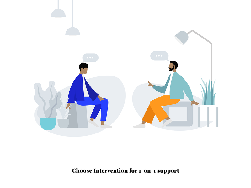 1 on 1 support on boarding onboarding vector design gif ai adobe creative illustration