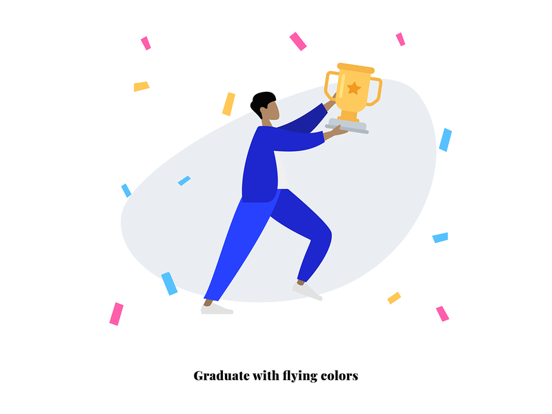 Graduate with flying colors on boarding onboarding vector design gif ai adobe creative illustration