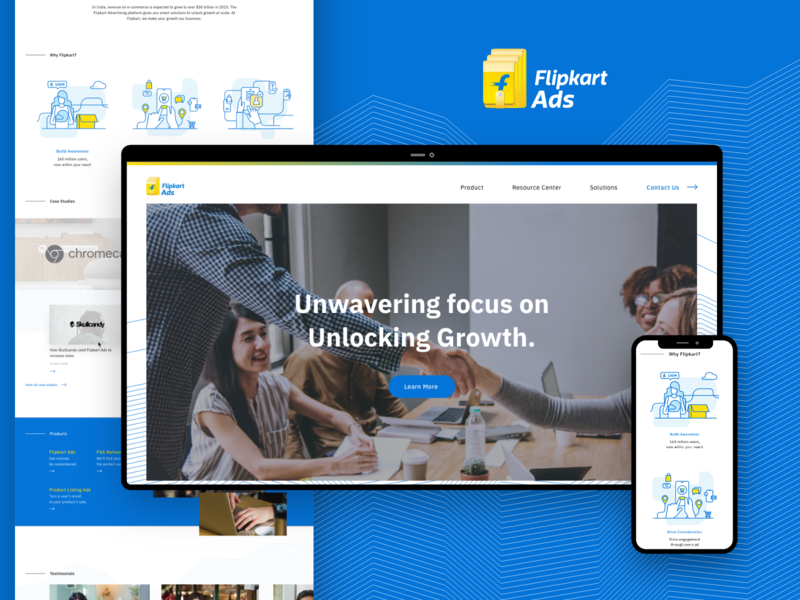 Flipkart Ads Business Landing page mobile webpage web graphic ui adobexd ads business business app flipkart