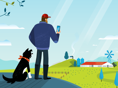 Joe the farmer 2d animation 2d bright characterdesign illustrator vector artdirection farm dog nature farmer man illustration