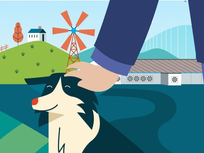The farmer's dog cute vector illustration border collie animals nature farm dog