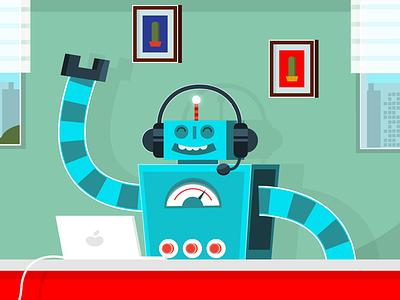 Sodexo Bot mac desk wip office illustration fun cool cute app computer bot robot