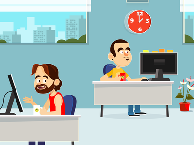 Sodexo design character duds notes click open-space office funny nice man