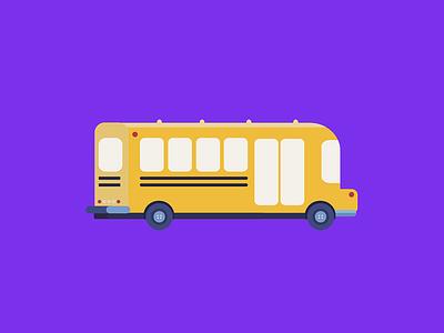 School Bus child jam traffic cute yellow vehicle car wheels vector kids bus