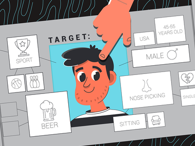 Target ux logo ui bot money business man app design style art vector engagement targeting map beer male piking nose sport