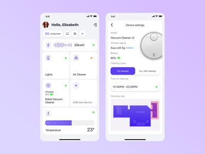Smart Home App - Settings - DailyUI