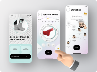 Mobile App – Fun Physiotherapy mobile art clean minimal branding design motion graphics graphic design 3d ui app typography ux