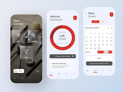 Mobile App – Haircut Calendar branding logo illustration app 3d ux ui motion graphics art design
